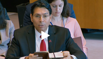 Danny Danon reads from Bible proving Israel's right to the land